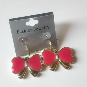 Fashion Jewelry Hot Pink Bow Earrings